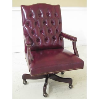 Hancock & Moore Tufted Burgundy Leather Office Desk Chair Preview