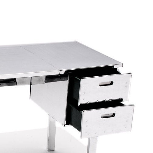 Polished Aluminum Folding Campaign Desk - Image 3 of 4