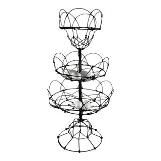 Antique French Triple Tier Hand-Made Twisted Wire Kitchen Basket For Sale