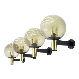 Limburg Wall Lights With Smoked Glass and Brass 1970s - Four Available For Sale