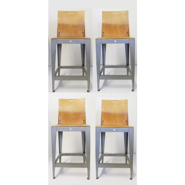 Metal Industrial Bar Stools by Falcon - Charlotte Collection For Sale - Image 7 of 7