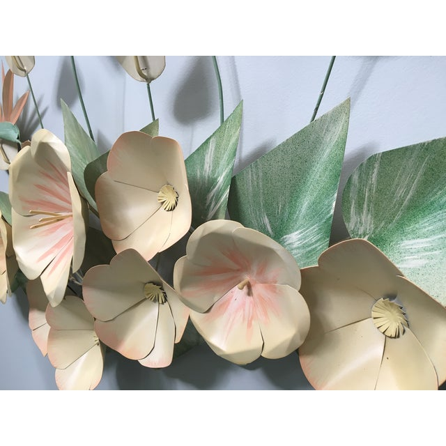 Metal Mid Century Modern Bird of Paradise Flower Tole Wall Sculpture For Sale - Image 7 of 7