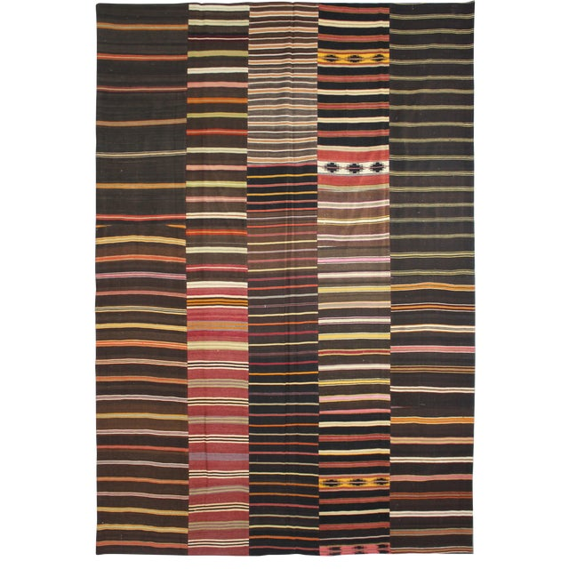 "Hand Knotted Antique Patchwork Kilim- 13' X 9'10"" For Sale"