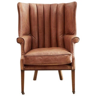 English Georgian Style Leather Wingback Porters Chair For Sale
