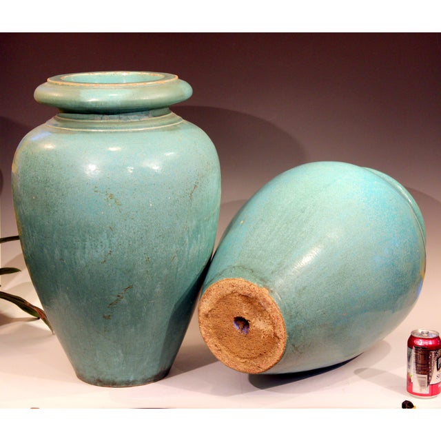 Large Pair of Galloway Terracotta Company Pottery Turquoise Urns Vases For Sale In New York - Image 6 of 12