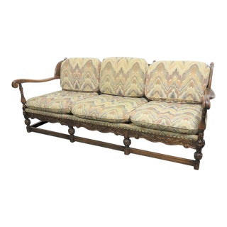 Jacobean Carved Oak Wingback Sofa For Sale