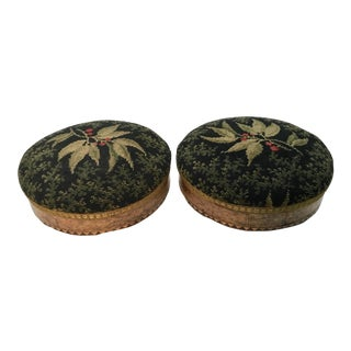 19th Century Antique English Inlaid Burl Wood Footstools - A Pair For Sale