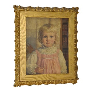 "19th Century ""Young Girl in a Pink Dress"" Portrait Oil Painting For Sale"