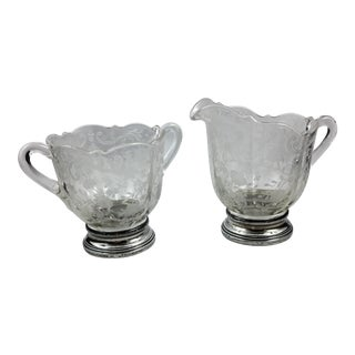 Cambridge Glass Sugar & Creamer W/ Sterling Base