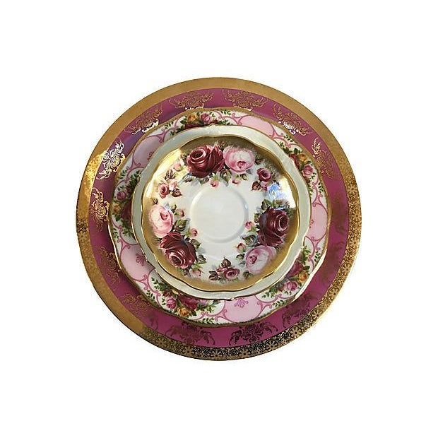 Pink Vintage Mismatched Porcelain Place Setting - Set of 5 - Image 2 of 9