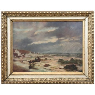 20th Century French Oil Painting on Canvas Signed Marine Subject With People For Sale