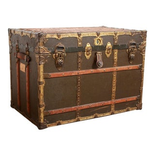 Antique New Atlas Canvas & Brass Trimmed Steamer Trunk For Sale