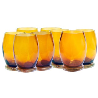 Amber Hand-Blown Drinking Glasses - Set of 8 For Sale