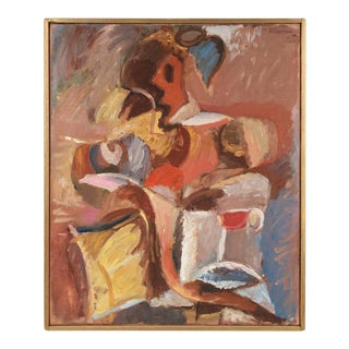 Gerald Wasserman Seated Cubist Figure in Oil, Circa 1970s