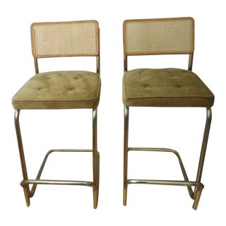 """Breuer"" Cantilever Bar Height Chairs With Caning - a Pair For Sale"