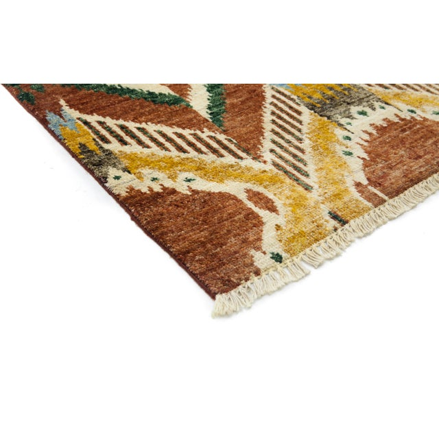 """New Ikat Hand Knotted Area Rug - 4' x 6'3"""" - Image 2 of 3"""