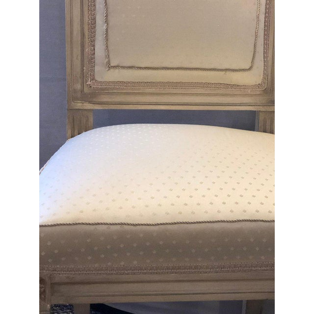 White Set of Twelve Maison Jansen Style Faux Linen Paint Decorated With New Upholstery For Sale - Image 8 of 13