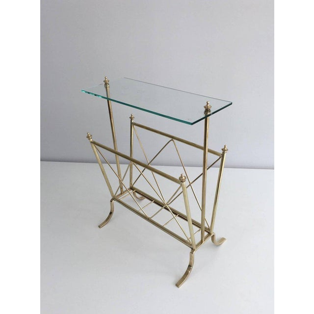 1940s French Brass and Glass Magazine Rack, Attributed to Maison Jansen For Sale - Image 10 of 11
