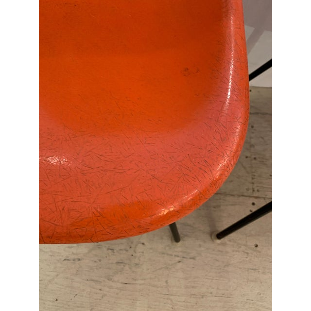 Set of 3 Bright Orange Mid Century Modern Shell Eames Chairs For Sale - Image 10 of 13