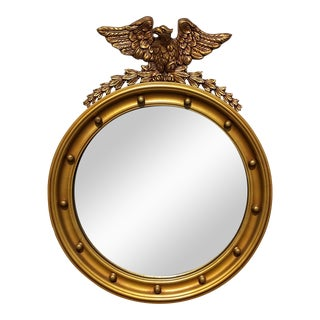 Vintage French Country Federal Eagle Convex Gold Wall Mantle Mirror 13 Colonies For Sale