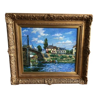 Framed Landscape Painting of a Small Town Along Side a River