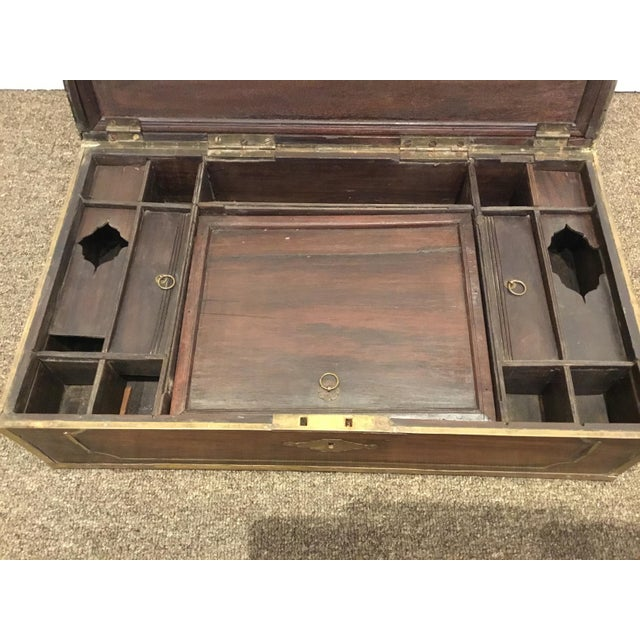 Antique English Mahogany Box With Ornate Brass Inlay For Sale - Image 4 of 5