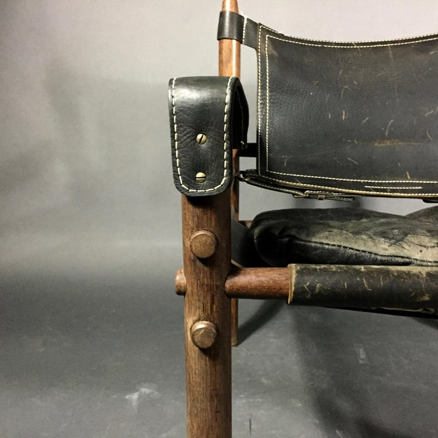 "Wood Arne Norell ""Scirocco"" Safari Chair, Leather & Rosewood, Sweden For Sale - Image 7 of 12"
