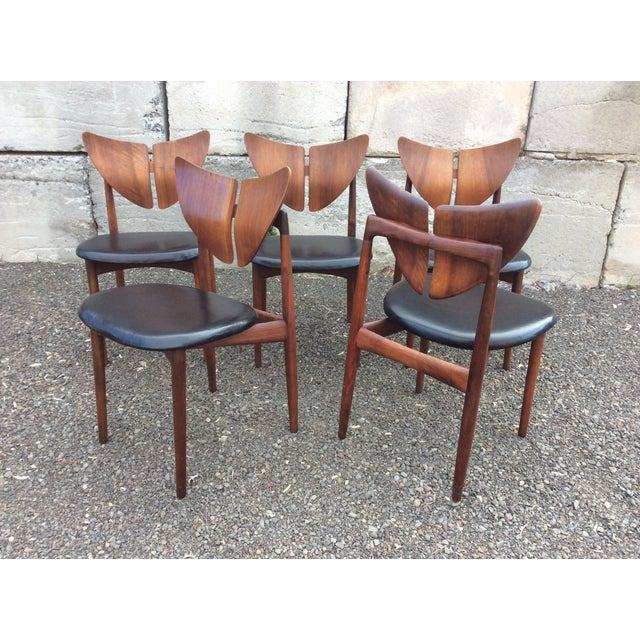 Ostervig Teak Leather Butterfly Chairs - Set of 5 - Image 2 of 9