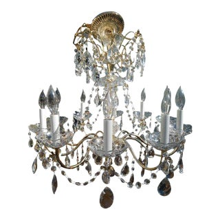 Vintage French Crystal 10-Light Chandelier For Sale