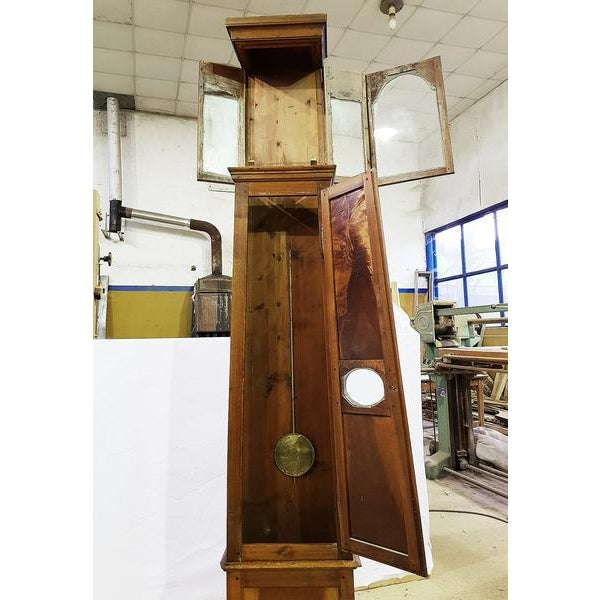 19th Century Antique French Tall Oak Clock Case and Non Working Clock For Sale - Image 4 of 12