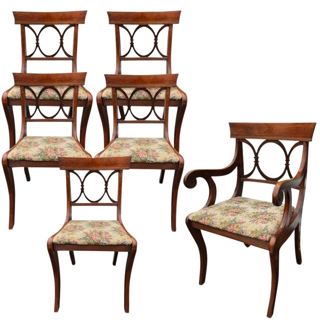Antique Tell City Chair Co. Mahogany Country Dining Chairs - Set of 6 For Sale