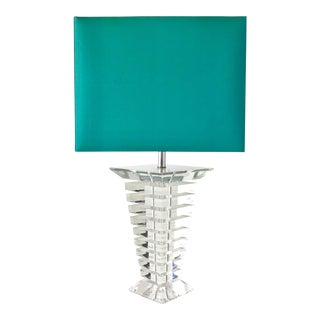 Large Single Tapered Stacked Lucite Table Lamp 1970s For Sale