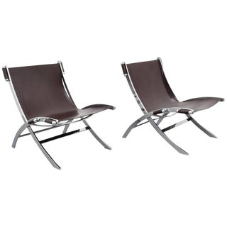 Pair of FlexForm Chrome and Leather Lounge Chairs, 1960s, Itay For Sale