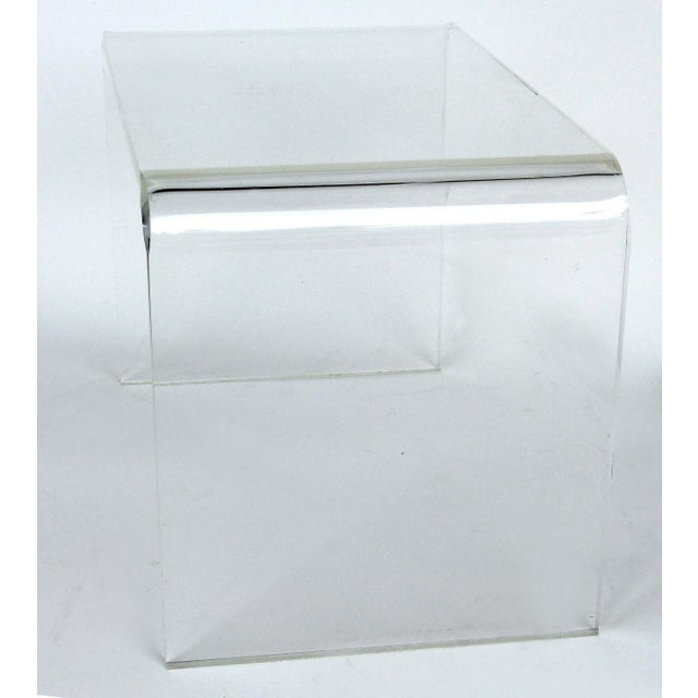 "Custom Lucite Waterfall Table showroom sample Offered for sale is an unused mid-century modern style 3/4"" thick..."