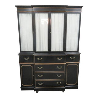Regency Black Lacquered Breakfront China Cabinet For Sale