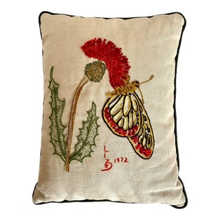 1972 Original Hand Embroidered Floral and Butterfly Decorative Pillow For Sale