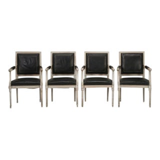 Set of 4 Louis XVI Armchairs in Black Leather For Sale