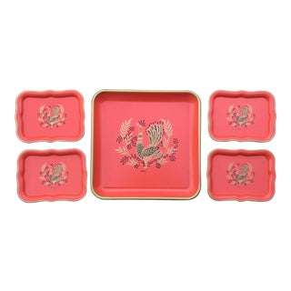 1970s Vintage Red Tole Tin Tray Set For Sale