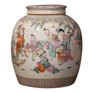 19th Century Chinese Hand-Painted and Gilt Porcelain Ginger Jar With Lid For Sale