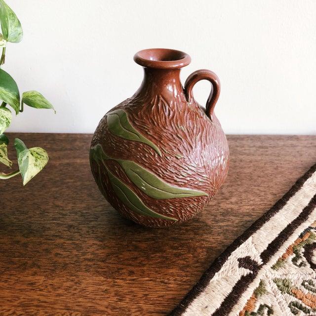 Rustic Vintage Ceramic With Carved Leaves Bud Vase or Olive Oil Jug For Sale - Image 3 of 6