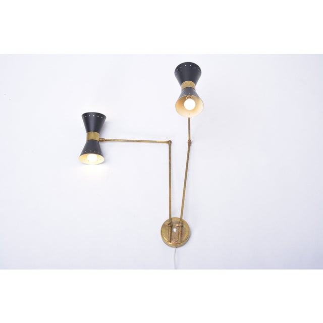 Italian Italian Two-Armed Adjustable Metal Wall Lamp With Brass Elements For Sale - Image 3 of 9