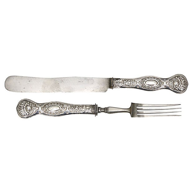 Cutlery Service For Six With Silver Handles And Pewter Tines/Blades. Handles Have French Hallmarks, Refer To Photos....