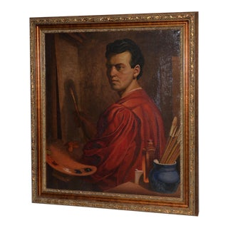 "Superb Oil Portrait of ""The Artist"" C.1940s For Sale"