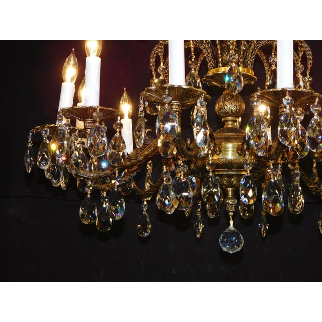 Antique French Brass Cut Lead Crystal Chandelier For Sale - Image 12 of 13