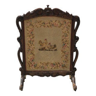 Reversible Needlepointed Firescreen on Carved Wooden Stand For Sale