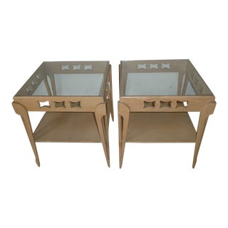 20th Century Transitional Limed Oak Side Tables - a Pair For Sale