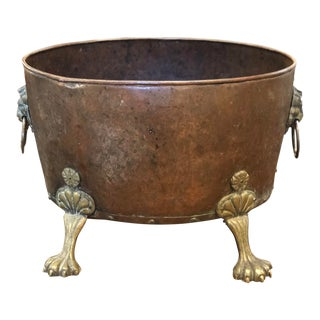 Late 19th Century English Copper Bucket With Paw Feet and Lions Heads For Sale