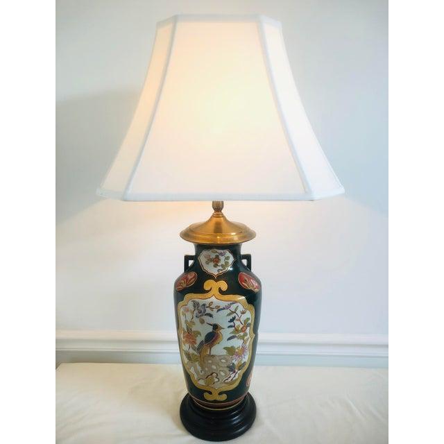 Late 20th Century Chinoiserie Hand Painted Wildwood Lamp