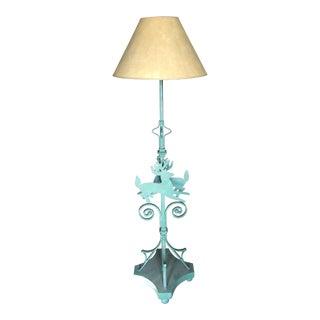 Deer Motif Wrought Floor Lamp For Sale
