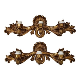 Cast Bronze & Gilded Wall Sconces - a Pair For Sale